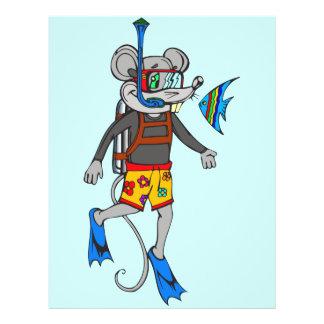 """Ratón del buceo con escafandra folleto 8.5"""" x 11"""""""
