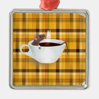 ratón del café adorno navideño cuadrado de metal
