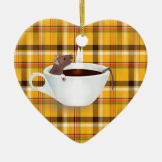 ratón del café adorno navideño de cerámica en forma de corazón