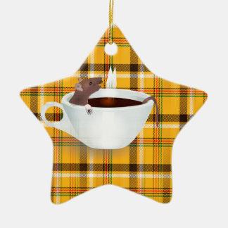 ratón del café adorno navideño de cerámica en forma de estrella