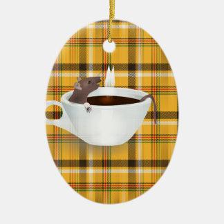 ratón del café adorno navideño ovalado de cerámica
