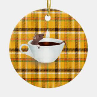 ratón del café adorno navideño redondo de cerámica