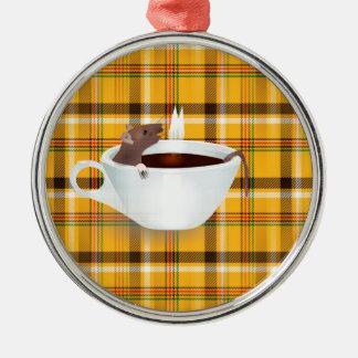 ratón del café adorno navideño redondo de metal