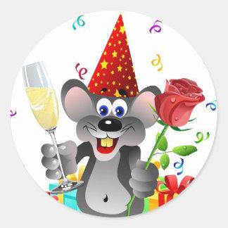Ratón del cumpleaños pegatina redonda
