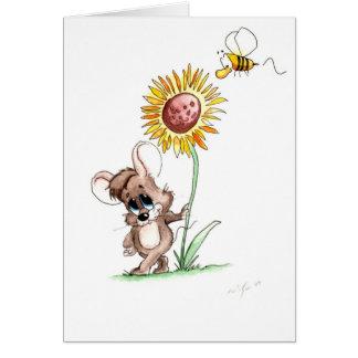 Ratón del girasol tarjetas