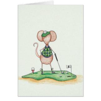 Ratón del golfista tarjeta de felicitación