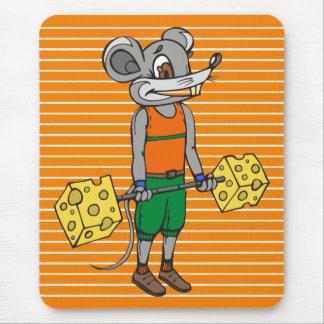 Ratón del levantamiento de pesas del queso alfombrillas de raton