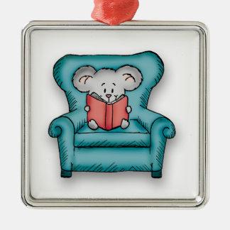 Ratón del libro - regalo para alguien que ama leer adorno navideño cuadrado de metal