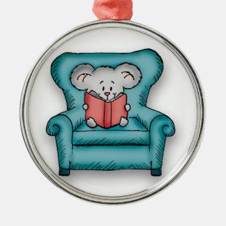 Ratón del libro - regalo para alguien que ama leer adorno navideño redondo de metal