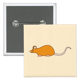 Ratón del mascota. Color de canela Pin Cuadrado