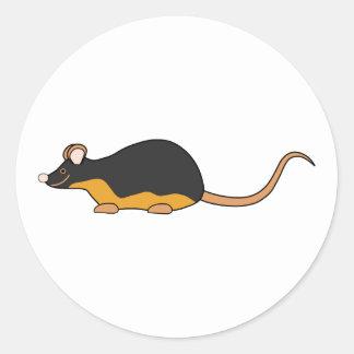 Ratón del mascota. Tan. negro Pegatina Redonda