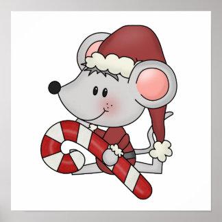 Ratón del navidad con el bastón de caramelo posters