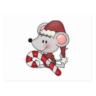 Ratón del navidad con el bastón de caramelo postal