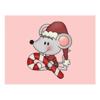 Ratón del navidad con el bastón de caramelo postales