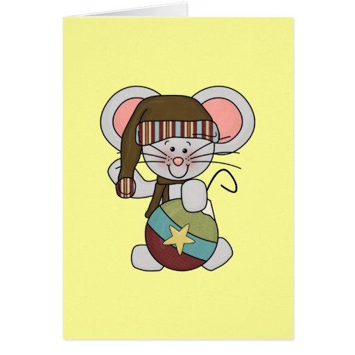 Ratón del navidad con el ornamento tarjeta de felicitación