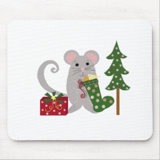 Ratón del navidad con la media verde mousepad