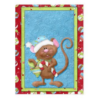 Ratón del navidad con las tarjetas del bastón de postal