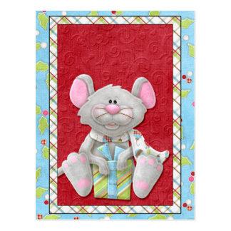 Ratón del navidad con las tarjetas del día de tarjetas postales