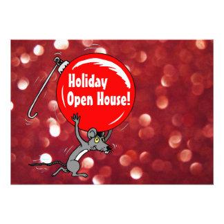 Ratón del navidad de la casa abierta del día de fi anuncio