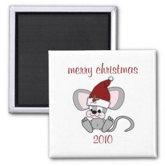 Ratón del navidad del bebé imán cuadrado