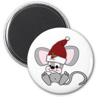 Ratón del navidad del bebé imán redondo 5 cm