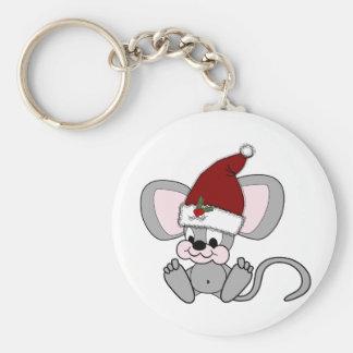 Ratón del navidad del bebé llavero redondo tipo pin