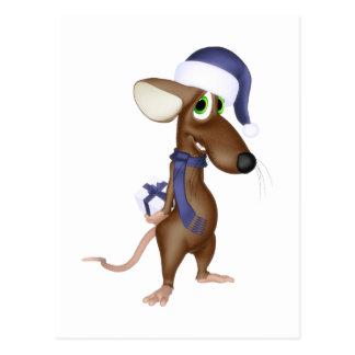 Ratón del navidad en azul postal