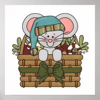 Ratón del navidad en cesta posters