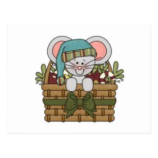 Ratón del navidad en cesta postal