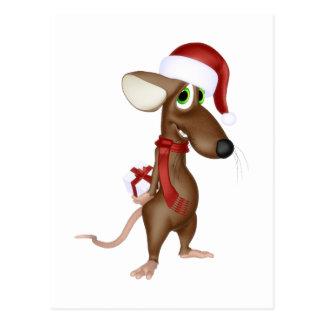 Ratón del navidad en rojo postales