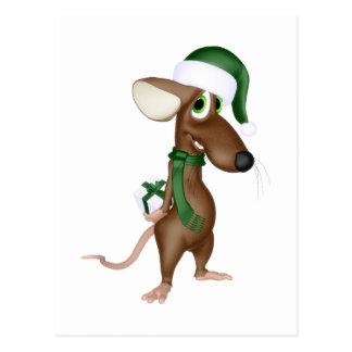 Ratón del navidad en verde tarjetas postales