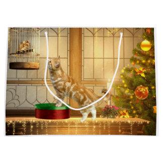 Ratón del navidad gatito y del navidad bolsa de regalo grande
