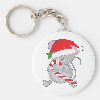 Ratón del navidad llavero redondo tipo pin