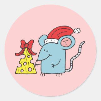 Ratón del navidad etiquetas redondas