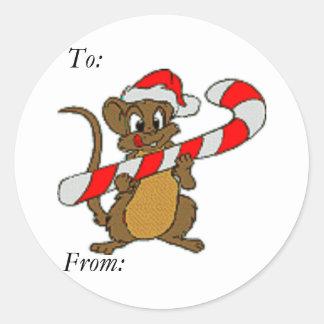 Ratón del navidad pegatina redonda