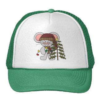 Ratón del navidad que adorna el árbol gorra