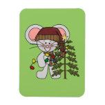 Ratón del navidad que adorna el árbol imán de vinilo