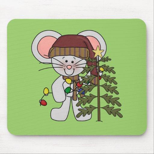 Ratón del navidad que adorna el árbol tapete de ratones