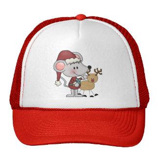 Ratón del navidad y gorros bordados
