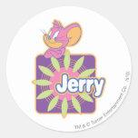 Ratón del neón de Jerry Pegatina Redonda