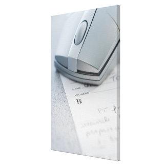 Ratón del ordenador en la prescripción escrita lona estirada galerías
