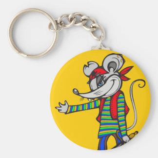Ratón del pirata llavero redondo tipo pin