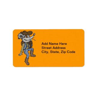Ratón del vaquero etiqueta de dirección