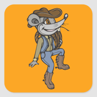 Ratón del vaquero pegatina cuadrada