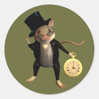 Ratón del Victorian Pegatina Redonda