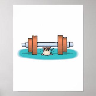 ratón divertido del levantamiento de pesas poster