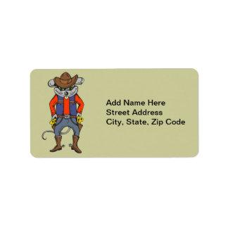 Ratón divertido del vaquero etiqueta de dirección