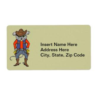 Ratón divertido del vaquero etiqueta de envío