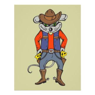 """Ratón divertido del vaquero folleto 8.5"""" x 11"""""""