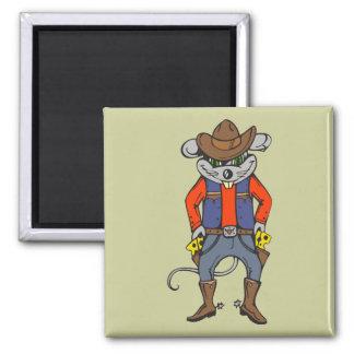 Ratón divertido del vaquero imán cuadrado